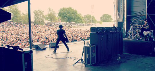 Canadian band Danko Jones at Sweden Rock with 4x EBS rigs provided by Swedish backline companies Backline Sthlm and LA Rental